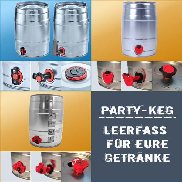 Drei Partyfass Varianten mit verschiedenen Zapfsystemen
