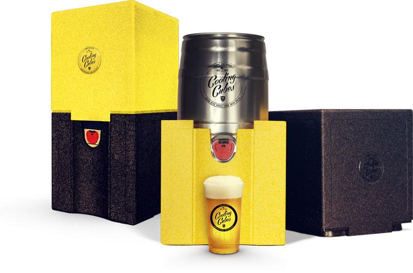 Die stylische Kühlbox für 5 Liter Bier Partyfässer